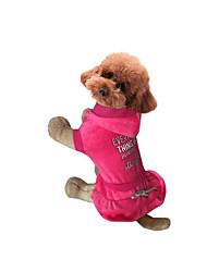 Cachorro Vestidos Roupas para Cães Casual Carta e Número Cinzento Fúcsia