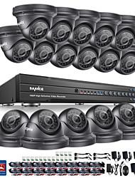 SANNCE® 16CH CCTV Security System 1080P AHD/TVI/CVI/CVBS/IP 5-in-1 DVR with 16pcs 2.0MP Cameras No HDD
