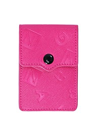 Unisex Card & ID Holder PU All Seasons Casual Rectangle Snap Fuchsia Black
