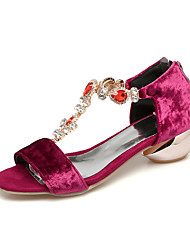 Women's Sandals Comfort Horse Hair Summer Dress Comfort Rhinestone Low Heel Blue Ruby Black 1in-1 3/4in
