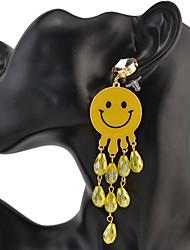 Drop Earrings New Alloy Fashion Jewelry Face Smile Crystal Charm Drop Stud Earring for Women Jewelry