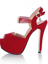 Femme Chaussures à Talons Confort Cuir Nubuck Eté Décontracté Confort Noir Rouge 12 cm & plus