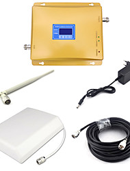 CDMA 850mhz 4G DCS 1800mhz Dual Band Signal Booster 800mhz Mobile Phone Signal Repeater with Panel Antenna / Whip Antenna / 15m Cable / Golden