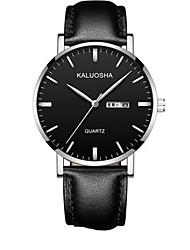 Men's Fashion Watch Wrist watch Digital Calendar Leather Band Black