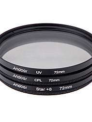 E set de filtro de 72 mm uv cpl estrela kit de filtro de 8 pontos com estojo para lente de câmera canon nikon sony dslr