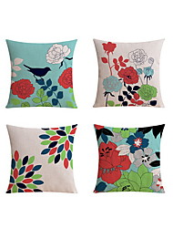 4 pcs Linen Pillow case Bed Pillow Body Pillow Travel Pillow Sofa Cushion Pillow Cover,Art Deco Floral PrintPattern Rustic