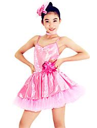 Danza classica Abiti Per donna Per bambini Da esibizione Elastene Poliester Paillettes Ruches 3 pezzi Senza maniche NaturaleAbito