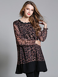 Dámské Sexy Běžné/Denní Jdeme ven Volné Šifón Šaty Leopard,Dlouhý rukáv Kulatý Nad kolena Polyester Podzim High Rise Neelastické Tenké