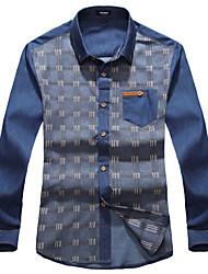 Men's Business Daily Casual Simple Fall Winter Shirt,Plaid/Check Shirt Collar Long Sleeve Cotton Medium