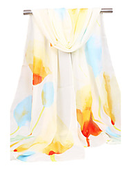 Women's Chiffon Fashion Cute Blue Red Pink Yellow Spring Summer Fall Winter All Seasons Scarf