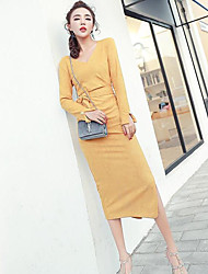 Women's Going out Casual/Daily Sheath Dress,Solid V-neck Midi Long Sleeve Cotton Polyester Spring Summer Mid Rise Micro-elastic Medium