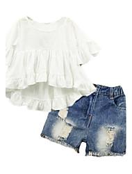 Girls' Hollow Sets,Cotton Blend Summer Short Sleeve Clothing Set