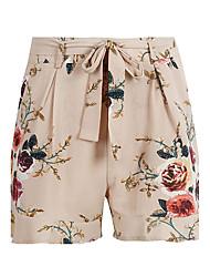 Mujer Cosecha Boho Chic de Calle Alta cintura Microelástico Chinos Shorts Pantalones,Delgado Floral Bloques Sexy Volante Lazo