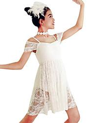 MiDee Ballroom Dance Dresses Women's / Children's Performance Spandex / Lace 2 Pieces White Ballroom Dance Short Sleeve