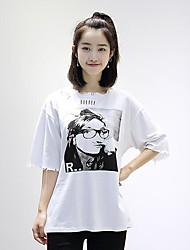 Damen Druck Retro Normal T-shirt,Rundhalsausschnitt Sommer Kurzarm Baumwolle