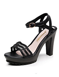 Women's High Heels Basic Pump Real Leather Spring Summer Casual Office & Career Basic Pump Chunky Heel Black Gold 3in-3 3/4in