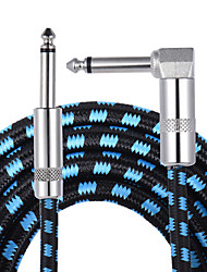 Ammoon 3M  10 Feet Instrument Guitar Cable Straight to Right Angle 1/4-Inch 6.35mm Plug with Blue Tweed Woven Jacket