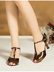 Damen Tanz-Turnschuh PU Sandalen Sneakers Im Freien Blockabsatz Gold Dunkelrot Hautfarben 5 - 6,8 cm