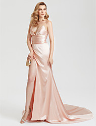 Sheath / Column V-Neck Court Train Satin Formal Evening Dress with Ruching Split Front by TS Couture®