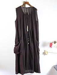 Damen Tunika Kleid-Lässig/Alltäglich Solide Rundhalsausschnitt Midi Ärmellos Baumwolle Sommer Mittlere Hüfthöhe Unelastisch Dünn