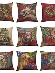 Set of 9 Christmas ThemePattern Linen Cushion Cover Home Office Sofa Square Pillow Case Decorative Cushion Covers Pillowcases Without Insert(18*18)