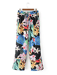 Femme Street Chic Taille Normale strenchy Ample Pantalon,Large Couleur unie Bandes Fleur