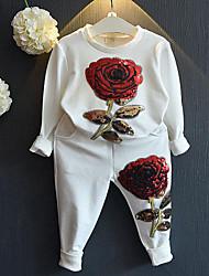 Para Meninas Conjuntos Floral Primavera Outono Raiom Pant Long Conjunto