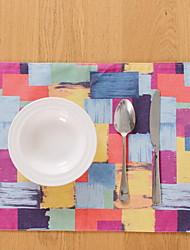 Korean Simple Style Color Grid Cotton And Linen Table Placemat 32*45cm
