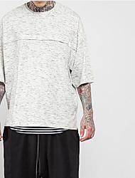 Herren Solide Geometrisch Druck Einfach Street Schick Aktiv Sport Ausgehen Lässig/Alltäglich T-shirt,Rundhalsausschnitt Sommer Herbst3/4
