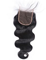 1 шт. Свободная часть 4x4 бразильское тело волна кружева ткать закрытие волосы сырые девственные remy волосы отбеленные узлы верхние