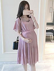 Maternity Summer Wear Fashionable Long Loose Waist Nail Bead With Short Sleeves Lace Dress