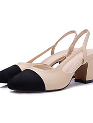 Damen High Heels Pumps Leder Sommer Normal Pumps Blockabsatz Mandelfarben 2,5 - 4,5 cm