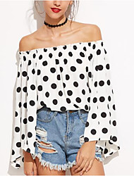 Women's Going out Casual/Daily Simple Cute Spring Summer Blouse,Polka Dot Boat Neck Long Sleeve Polyester Medium