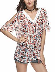 Women's Street Street chic Summer Blouse,Print V Neck Short Sleeve Polyester Thin