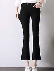 Women's High Waist Micro-elastic Straight Pants,Simple Straight Solid