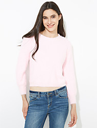 Women's Regular Pullover,Solid Blue / Pink / White / Black Round Neck Long Sleeve Wool Fall Medium