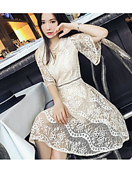Women's Going out Casual/Daily Sexy Simple Cute A Line Loose Sheath Dress,Solid Lace Round Neck Above Knee Half Sleeve Lace Spring Summer