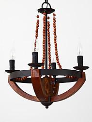 Quatre chefs peinture vintage caractéristique mini style bois / lampe à chandelier en bambou pour l'entrée / salon / salle des enfants