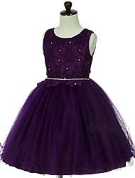 Robe de bal courte / mini robe de fille fleur - organza sans manches cravate avec dentelle cristalline