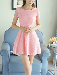 Women's Slim chic A Line Lace Dress Solid Patchwork Cut Out Jacquard Asymmetrical Mini Short Sleeve Summer
