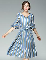 Для женщин На выход На каждый день Уличный стиль Оболочка Платье Полоски,V-образный вырез Средней длины Рукав до локтя Шерсть Полиэстер