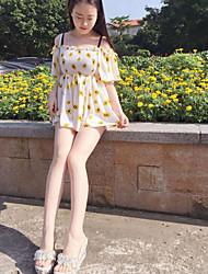 Tunique Robe Femme Sortie Décontracté / Quotidien Couleur Pleine Fleur Imprimé Bateau Mini Manches Courtes Coton Polyester Printemps Eté