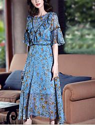 Damen Tunika Swing Kleid-Lässig/Alltäglich Einfach Blumen Rundhalsausschnitt Midi Halbe Ärmel Andere Frühling Sommer Hohe Hüfthöhe