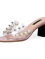 Women's Slippers & Flip-Flops Transparent Shoe Summer PU Walking Shoes Casual/Daily Beading Chunky Heel Black Gray Blushing Pink 2in-2