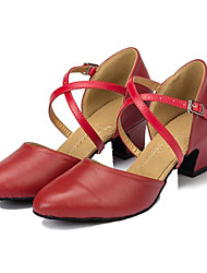 "Women's Modern Faux Leather Sandal Performance Criss-Cross Cuban Heel Black Red 2"" - 2 3/4"" Customizable"