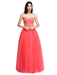 TS Couture Formal Evening Dress - Sparkle & Shine A-line Strapless Floor-length Satin Tulle with Beading