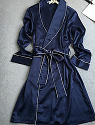 Robe de chambre Satin & Soie Vêtement de nuit Femme,Sexy Solide
