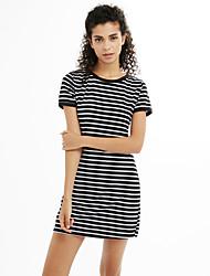 Damen Hülle T Shirt Kleid-Lässig/Alltäglich Ausgehen Einfach Gestreift Schmuck Übers Knie Kurzarm Baumwolle Alle Saisons Mittlere Hüfthöhe