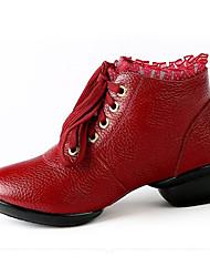 Women's Modern Cowhide Flats Heels Practice Ruby Black White