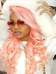 Estilo novo preço barato rosa cabelo humano ruivas escuras ondas do corpo onda perna glueless frente perucas de cabelo virgem brasileira